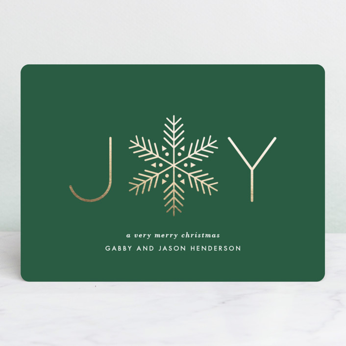 """""""Frost"""" - Foil-pressed Holiday Cards in Evergreen by Lauren Chism."""