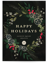 This is a red foil stamped holiday card by Susan Moyal called Winter Sprigs with foil-pressed printing on signature in standard.