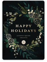 This is a black foil stamped holiday card by Susan Moyal called Winter Sprigs with foil-pressed printing on signature in standard.