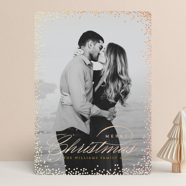 """""""Glimmery"""" - Foil-pressed Holiday Cards in Goldenrod by Design Lotus."""
