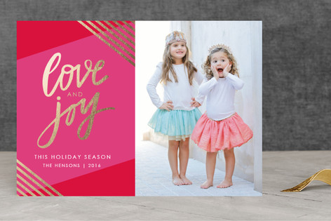 Golden Love & Joy Foil-Pressed Holiday Cards