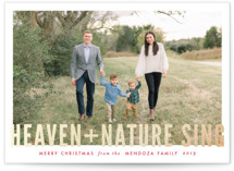 This is a red foil stamped holiday card by Melissa Egan of Pistols called Heaven + Nature with foil-pressed printing on smooth signature in standard.