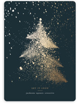 This is a green foil stamped holiday card by Anna Joseph called Let It Snow Let It Snow Let It Snow with foil-pressed printing on signature in standard.