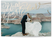 This is a white foil stamped holiday card by Jackie Crawford called hand Letter Scripted New year Cheer with foil-pressed printing on smooth signature in standard.
