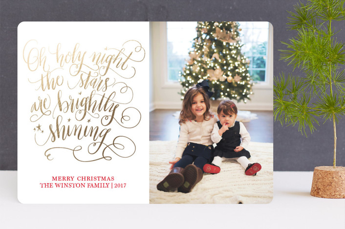 """Hand Lettered Holy Night"" - Foil-pressed Holiday Cards in Gold by Beth Hunt."