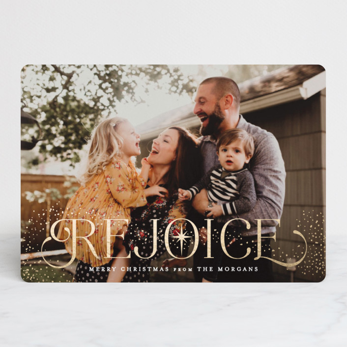 """Sparkle and Rejoice"" - Foil-pressed Holiday Cards in Gold by Hooray Creative."
