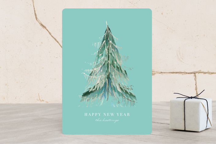 """love light & tinsel"" - Bohemian Foil-pressed Holiday Cards in Stream by Baumbirdy."