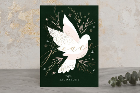 Peace Dove Foil-Pressed Holiday Cards