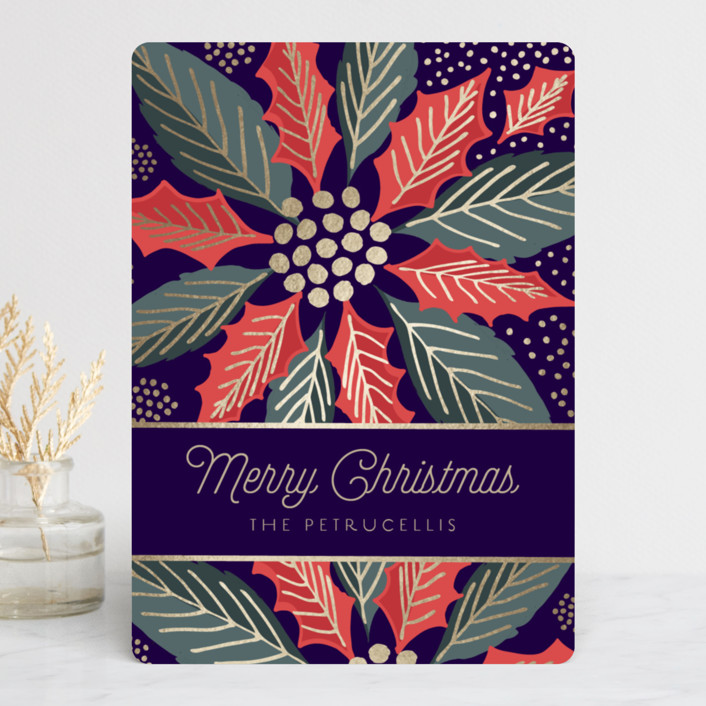 """Holiday Explosion"" - Vintage Foil-pressed Holiday Cards in Midnight by Chris Griffith."