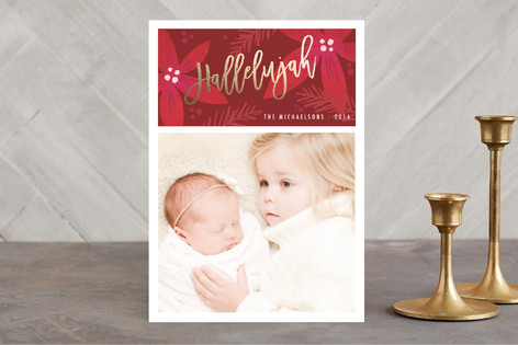 poinsettia hallelujah Foil-Pressed Holiday Cards
