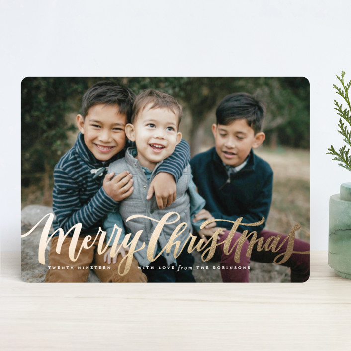"""Wonderfully Merry"" - Foil-pressed Holiday Cards in Gold by Wildfield Paper Co.."