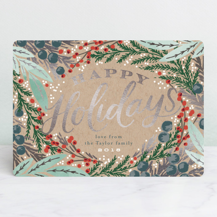 """Holiday Wreath"" - Vintage Foil-pressed Holiday Cards in Kraft by Alethea and Ruth."