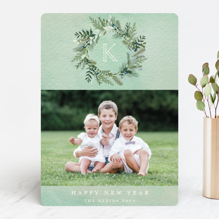 """""""Greenery Wreath"""" - Foil-pressed Holiday Cards in Mint Wash by Susan Moyal."""