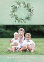 Greenery Wreath Foil-Pressed Holiday Cards By Susan Moyal