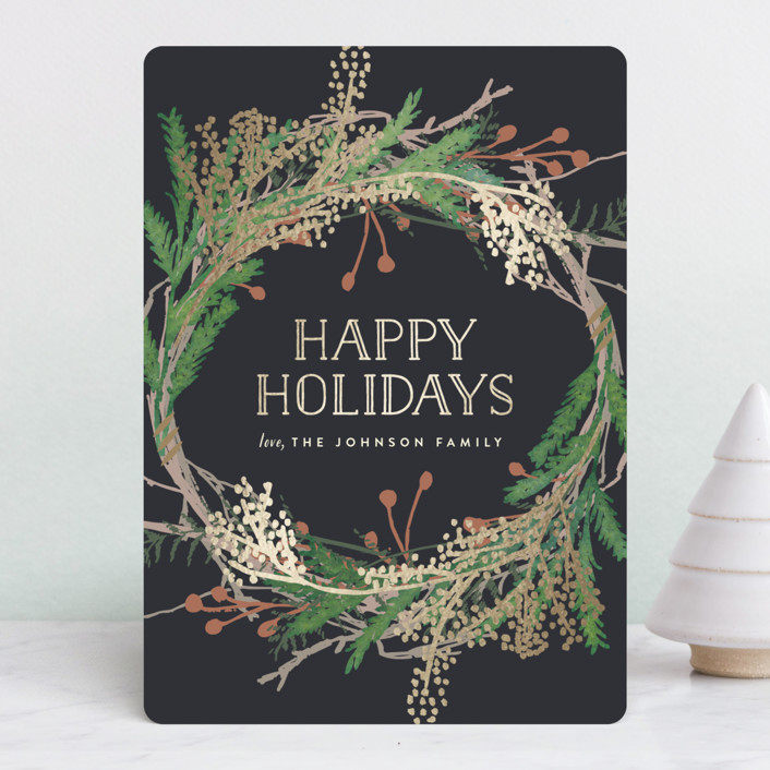 """Pine Circle"" - Foil-pressed Holiday Cards in Moss by Leah Bisch."
