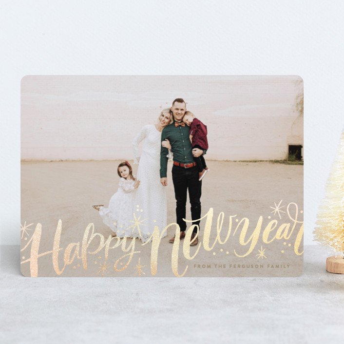 """""""Merry Christmas Sparkle Snow"""" - Bohemian Foil-pressed Holiday Cards in Eggnog by Alethea and Ruth."""