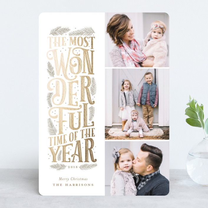 """""""The Most Wonderful"""" - Vintage Foil-pressed Holiday Cards in Ash by Sarah Brown."""