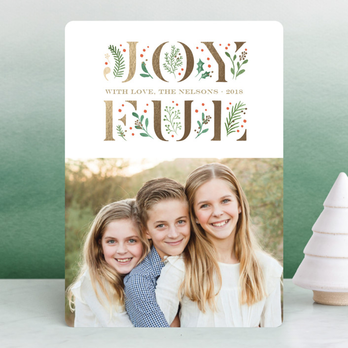 """Blooming Joy"" - Foil-pressed Holiday Cards in Caramel by Jennifer Wick."