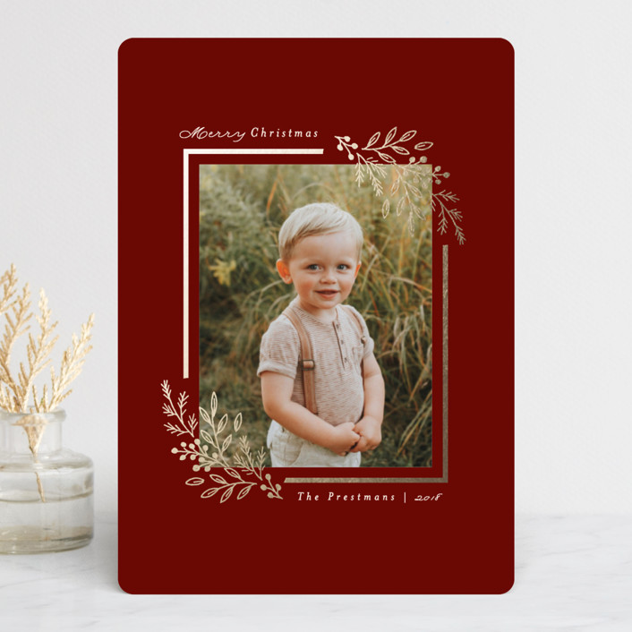 """Montpelier"" - Foil-pressed Holiday Cards in Poinsettia by Little Words Design."