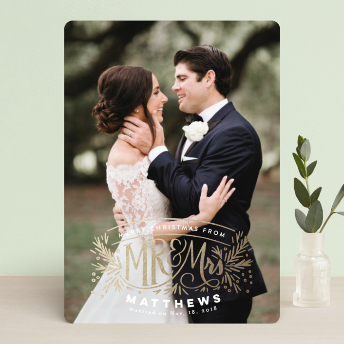 """""""Mr and Mrs Pine Crest"""" - Foil-pressed Holiday Cards in Blush by Alethea and Ruth."""
