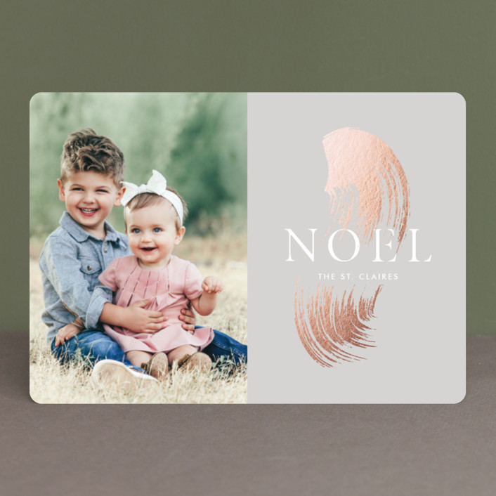 """""""Brushed gold leaf"""" - Bohemian Foil-pressed Holiday Cards in Heather Grey by kelli hall."""