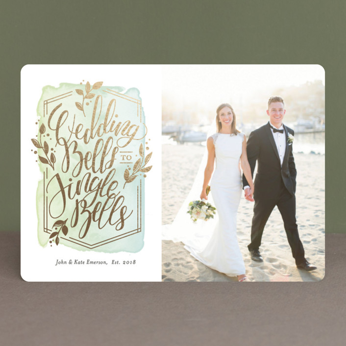 """Bells to Bells"" - Foil-pressed Holiday Cards in Seafoam by Snow and Ivy."