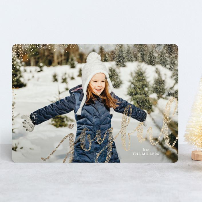 """Joyful Greeting"" - Foil-pressed Holiday Cards in Snow by Erin Deegan."