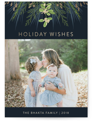 Greenery Branches Foil-Pressed Holiday Cards