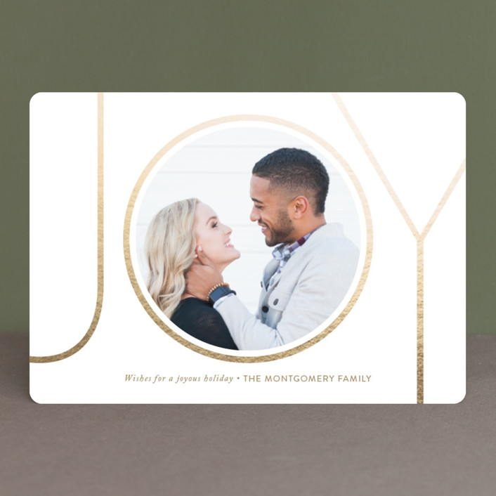 """Shimmer Joy"" - Modern Foil-pressed Holiday Cards in Gold by Smudge Design."