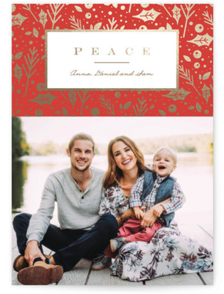 foiled foliage Foil-Pressed Holiday Cards