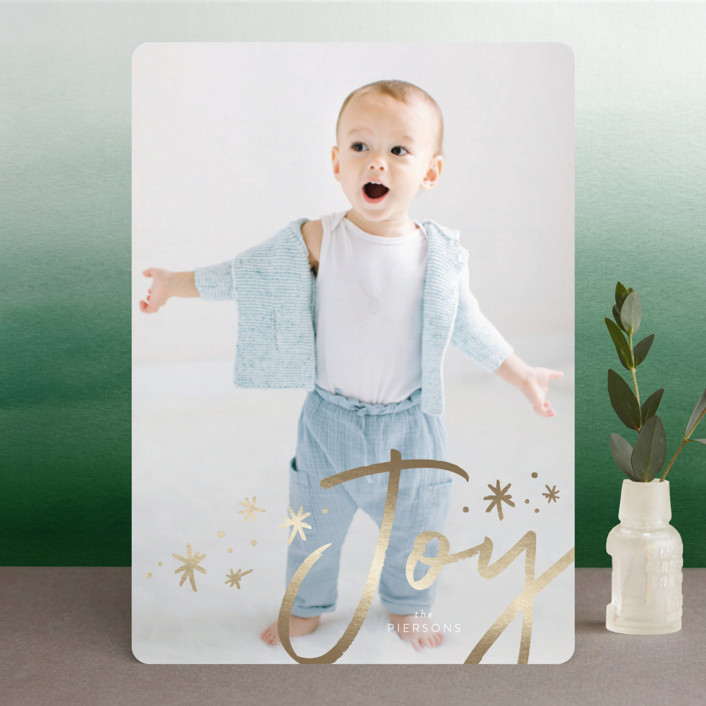 """joy + confetti"" - Modern Foil-pressed Holiday Cards in Gold by Erin Deegan."