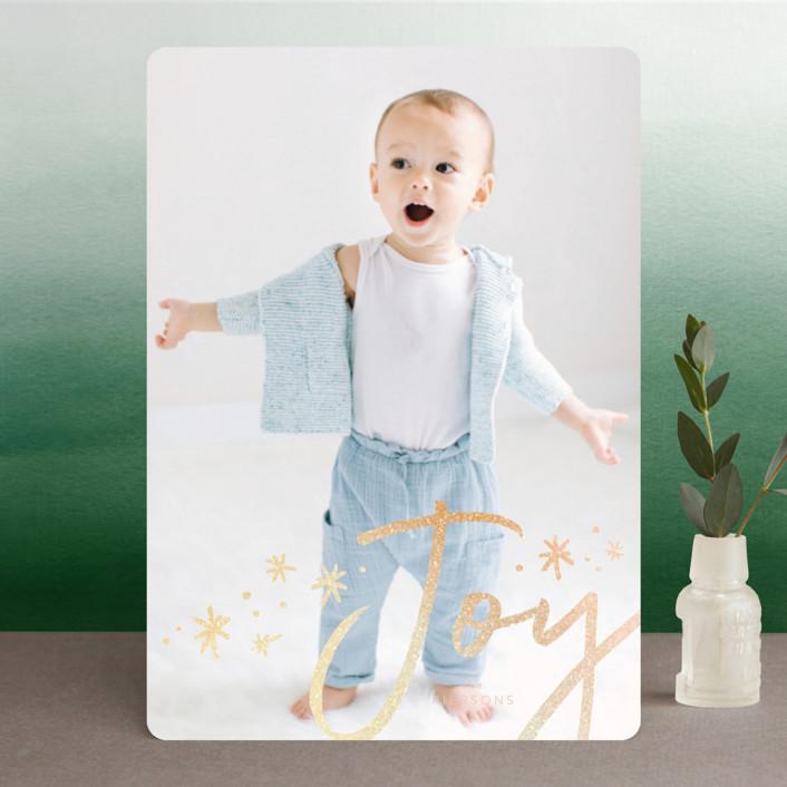 """""""joy + confetti"""" - Modern Foil-pressed Holiday Cards in Blush by Erin Deegan."""