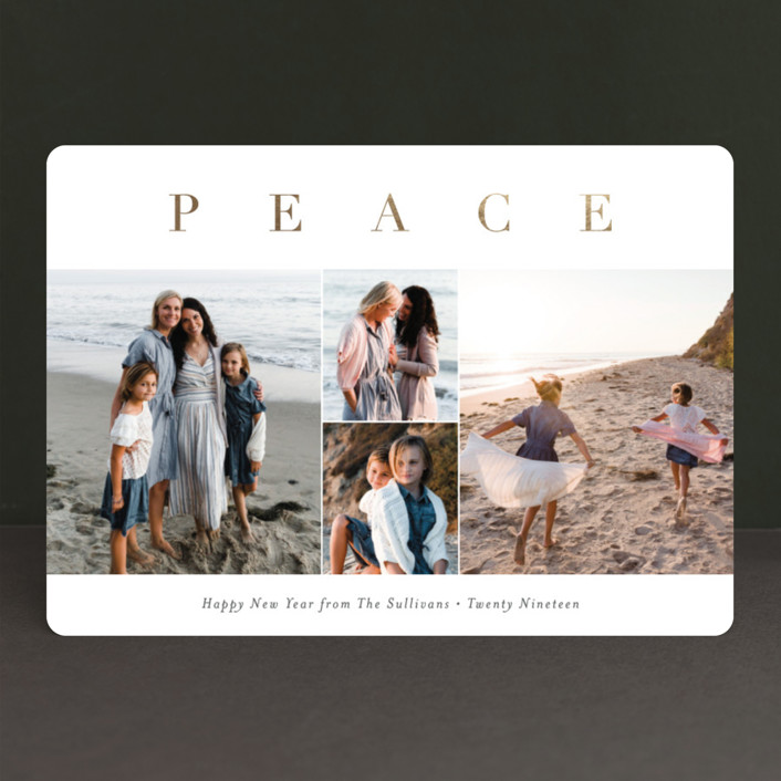 """Peace to All"" - Foil-pressed Holiday Cards in Vanilla by Carolyn MacLaren."