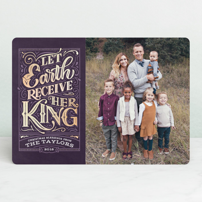 """""""Let Earth Receive Her King"""" - Vintage Foil-pressed Holiday Cards in Grape by Laura Bolter Design."""