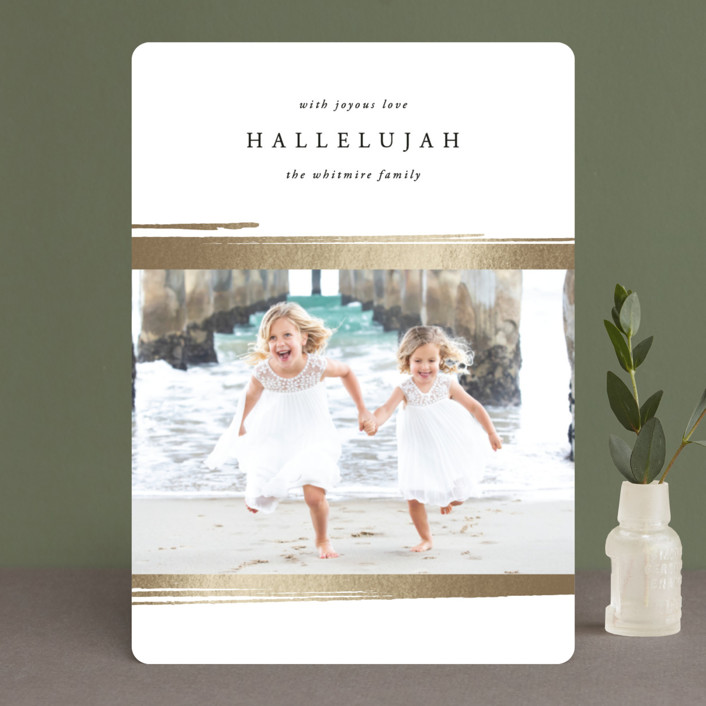 """""""Message of Hallelujah"""" - Foil-pressed Holiday Cards in Powdered Snow by Kate Ross."""
