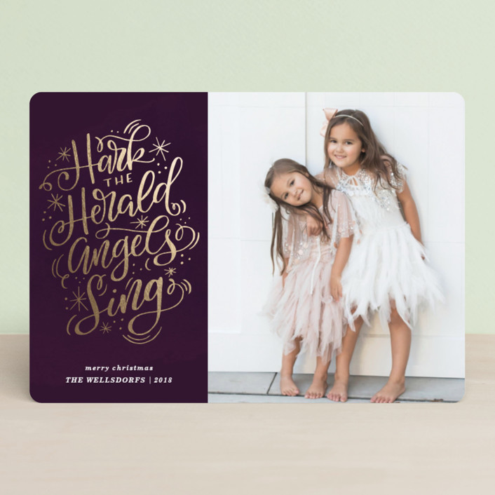 """Harkly Sparkly"" - Foil-pressed Holiday Cards in Amethyst by Makewells."