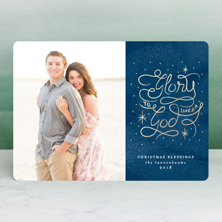 """Luke 2:14"" - Vintage Foil-pressed Holiday Cards in Winter by Lehan Veenker."