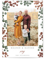 This is a green foil stamped holiday card by Susan Moyal called Heaven & Nature with foil-pressed printing on smooth signature in standard.