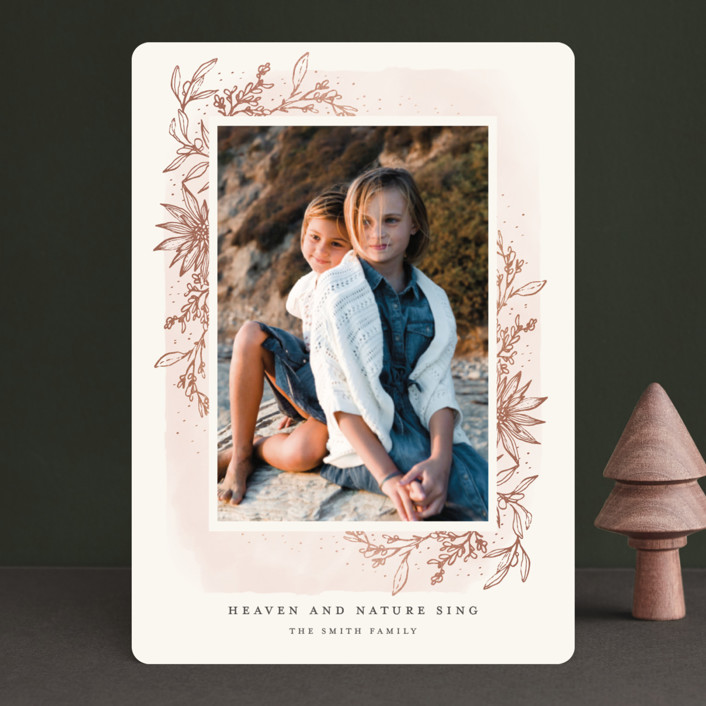 """""""Gilded Sweeping Botanical"""" - Bohemian Foil-pressed Holiday Cards in Blush by Grace Kreinbrink."""