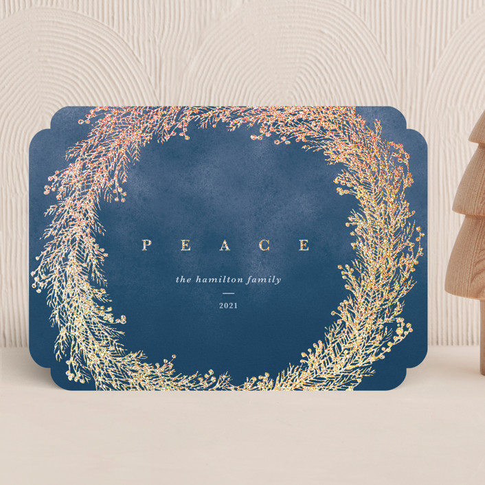 """""""Peace Wreath"""" - Foil-pressed Holiday Cards in Midnight by Gwen Bedat."""