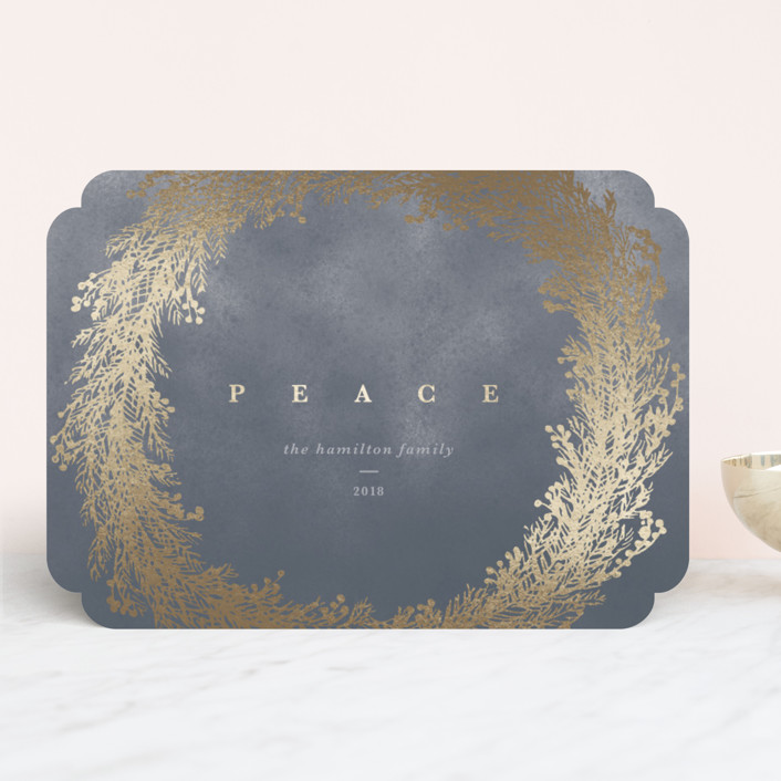 """""""Peace Wreath"""" - Foil-pressed Holiday Cards in Mist by Gwen Bedat."""