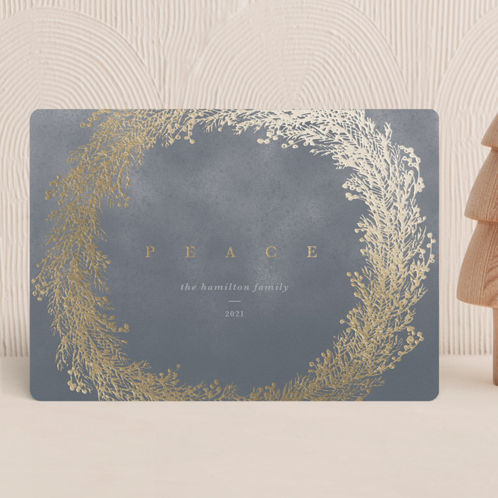 """Peace Wreath"" - Foil-pressed Holiday Cards in Mist by Gwen Bedat."
