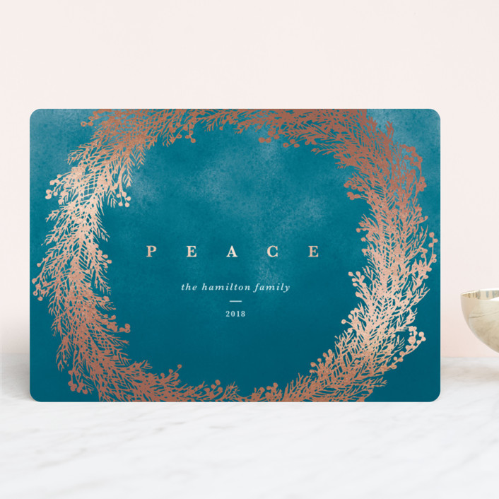 """Peace Wreath"" - Foil-pressed Holiday Cards in Ocean by Gwen Bedat."