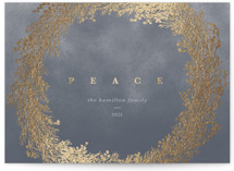 This is a grey foil stamped holiday card by Gwen Bedat called Peace Wreath with foil-pressed printing on signature in standard.