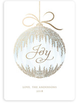 This is a blue foil stamped holiday card by Paper Sun Studio called Cascade Ornament with foil-pressed printing on signature in standard.