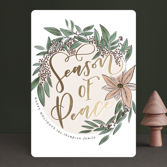 """""""Season of Peace"""" - Vintage Foil-pressed Holiday Cards in Lily by Leah Bisch."""