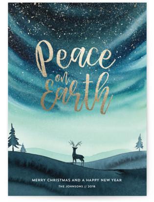 Xmas Aurora II Foil-Pressed Holiday Cards