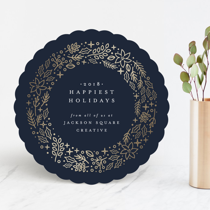 """Wintry Wreath"" - Foil-pressed Holiday Cards in Midnight by Ana Sharpe."