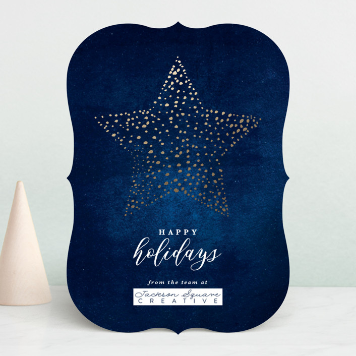 """Star Bright"" - Foil-pressed Holiday Cards in Midnight by Laura Hamm."
