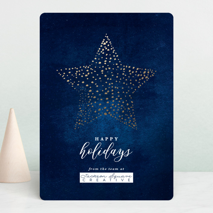 """""""Star Bright"""" - Foil-pressed Holiday Cards in Midnight by Laura Hamm."""